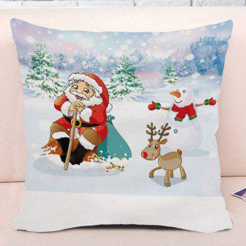 Christmas Snowscape Santa Claus Print Square Decorative Pillow Case - COLORMIX COLORMIX