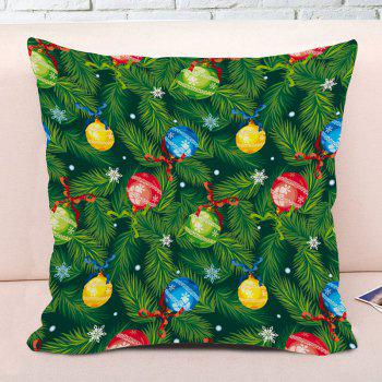 Christmas Pine Boughs Hanging Balls Print Decorative Pillow Case - GREEN W18 INCH * L18 INCH