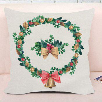 Watercolor Christmas Wreath Print Square Decorative Pillow Case - WHITE W18 INCH * L18 INCH