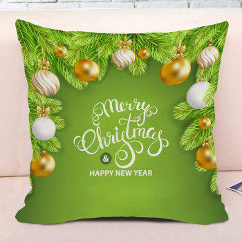 Christmas Balls Pattern Square Decorative Throw Pillow Case - GREEN W18 INCH * L18 INCH