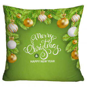 Christmas Balls Pattern Square Decorative Throw Pillow Case - GREEN GREEN