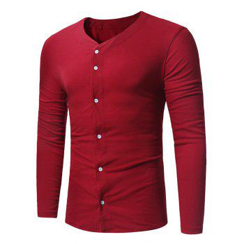 V Neck Button Up T-shirt - WINE RED WINE RED