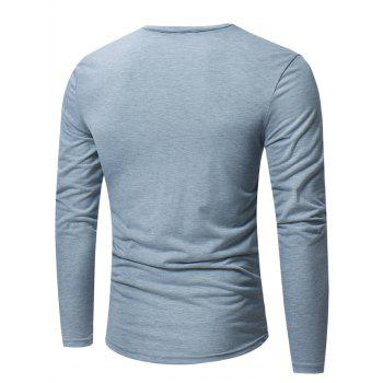 Camouflage Zipper Panel Long Sleeve T-shirt - LIGHT GRAY LIGHT GRAY
