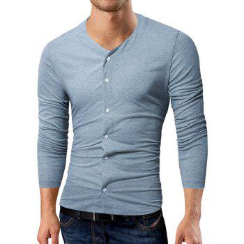 V Neck Button Up T-shirt - LIGHT GRAY 2XL