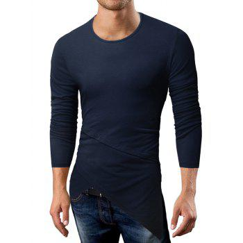 Longline Long Sleeve Asymmetric T-Shirt - CADETBLUE XL