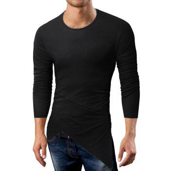 Longline Long Sleeve Asymmetric T-Shirt - BLACK XL