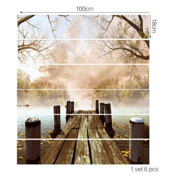 Foggy Lakeside Plank Bridge Printed Stair Stickers - FRESH 6PCS:39*7 INCH( NO FRAME )