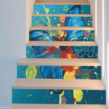 Butterfly Paint Baubles Pattern Stair Stickers - ACU CAMOUFLAGE 100*18CM*6PCS