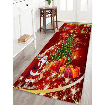Christmas Tree Gift Santa Claus Print Skidproof Flannel Bath Mat