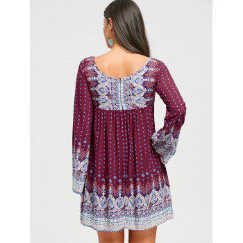 Keyhole Bell Sleeve Bohemian Mini Dress - WINE RED L