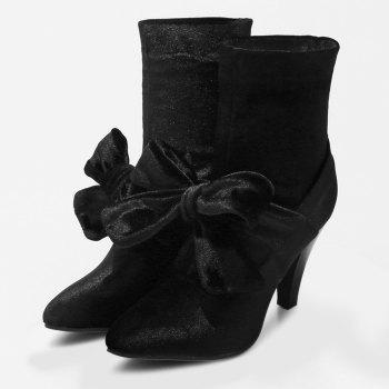 Bow Cone Heel Pointed Toe Boots - BLACK 41