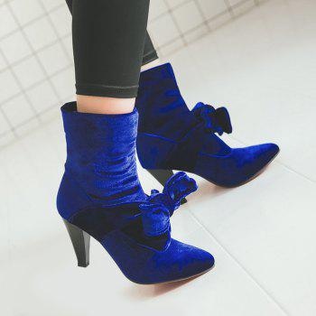 Bow Cone Heel Pointed Toe Boots - BLUE 40