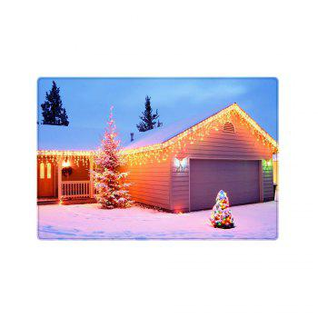 Christmas House Tree Pattern Indoor Outdoor Area Rug - YELLOW W16 INCH * L24 INCH
