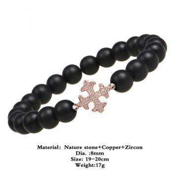 Rhinestone Beaded Cross Bracelet -  ROSE GOLD