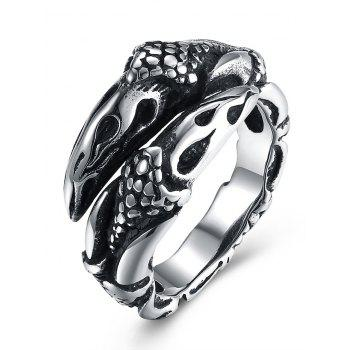 3D Eagle Carved Decorated Gothic Style Titanium Steel Ring - BLACK BLACK