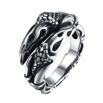 3D Eagle Carved Decorated Gothic Style Titanium Steel Ring - BLACK 9