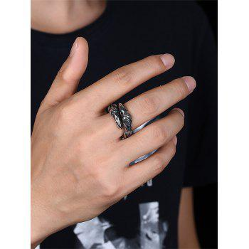 3D Eagle Carved Decorated Gothic Style Titanium Steel Ring - BLACK 12