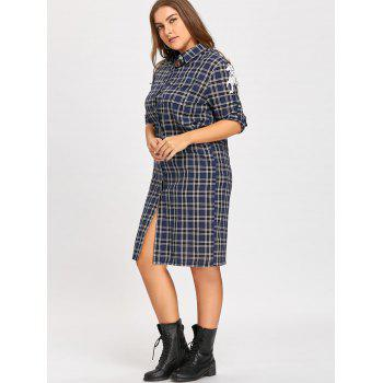 Wings Patches Plus Size Flannel Plaid Shirt Dress - GRAY ONE SIZE
