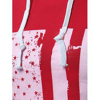 Distressed American Flag Print T-shirt - RED RED