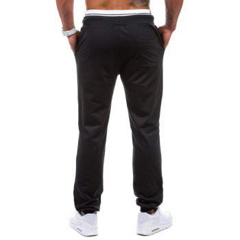Graphic Geometric Print Jogger Pants - BLACK BLACK
