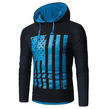 Distressed American Flag Print T-shirt - BLUE AND BLACK BLUE/BLACK