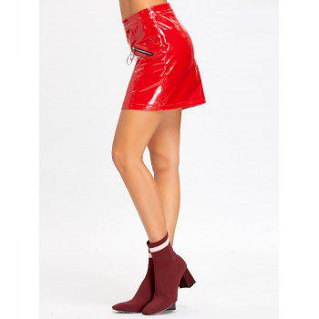 Zippers Faux Leather Mini Skirt - RED M