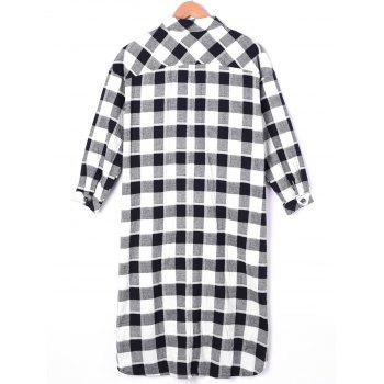 Dip Hem Plaid Longline Shirt - BLACK WHITE ONE SIZE