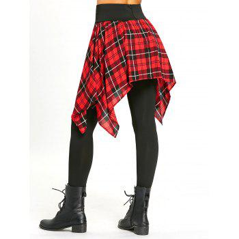 Asymmetric Plaid Lace Up Tight Skirted Leggings - BLACK/RED 2XL