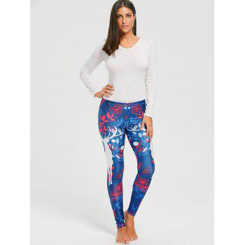 Christmas Elk Fitted Leggings - COLORMIX M