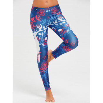 Christmas Elk Fitted Leggings - COLORMIX COLORMIX