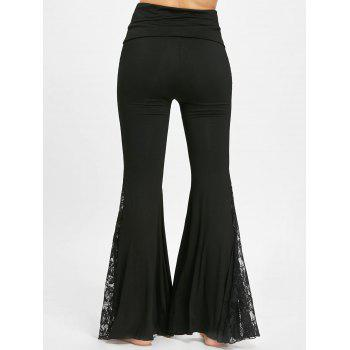 Lace Insert High Waisted Flare Pants - BLACK BLACK