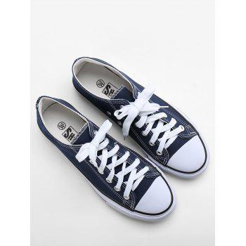 Lace Up Stitching Canvas Shoes - BLUE 41