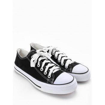 Lace Up Stitching Canvas Shoes - BLACK 40