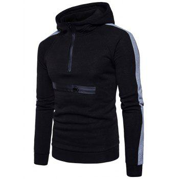 Color Block Zippers Fleece Pullover Hoodie - BLACK S