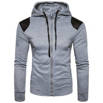 PU Leather Panel Zip Up Hoodie - LIGHT GRAY LIGHT GRAY