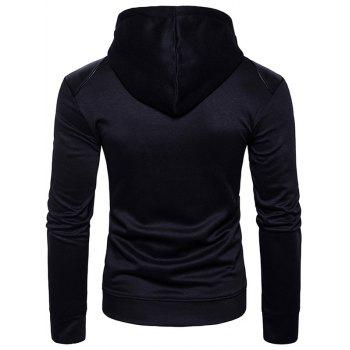 PU Leather Panel Zip Up Hoodie - BLACK BLACK