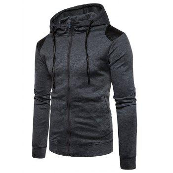 PU Leather Panel Zip Up Hoodie - DEEP GRAY M