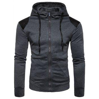 PU Leather Panel Zip Up Hoodie - DEEP GRAY DEEP GRAY