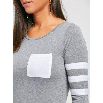 Pocketed Color Block Striped Sleeve T-shirt - GRAY L