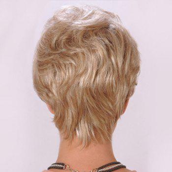 Short Side Bang Layered Fluffy Slightly Curly Synthetic Wig - LIGHT GOLD