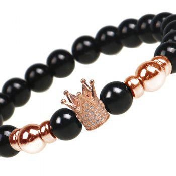 Rhinestone Beaded Crown Bracelet - ROSE GOLD