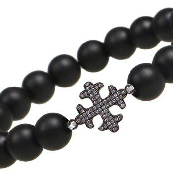 Rhinestone Beaded Cross Bracelet -  BLACK