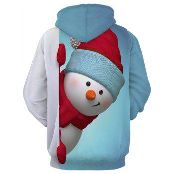 Snowman 3D Print Kangaroo Pocket Christmas Hoodie - LIGHT BLUE XL