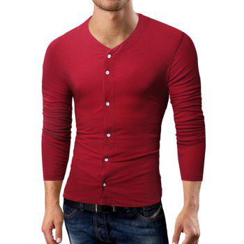 V Neck Button Up T-shirt - WINE RED 2XL