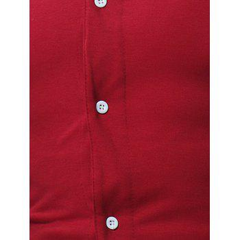 V Neck Button Up T-shirt - WINE RED L
