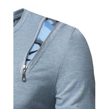 Camouflage Zipper Panel Long Sleeve T-shirt - LIGHT GRAY 2XL