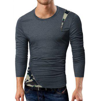Camouflage Zipper Panel Long Sleeve T-shirt - DEEP GRAY L