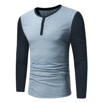 Color Block Panel Long Sleeve Henley T-Shirt - LIGHT GRAY LIGHT GRAY