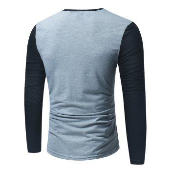 Color Block Panel Long Sleeve Henley T-Shirt - LIGHT GRAY L