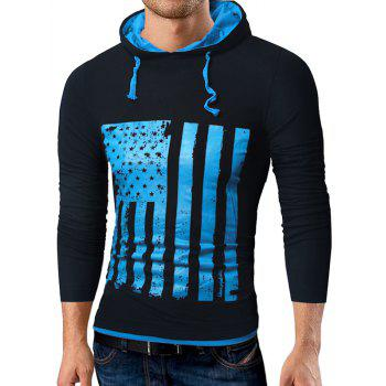 Distressed American Flag Print T-shirt - BLUE/BLACK BLUE/BLACK